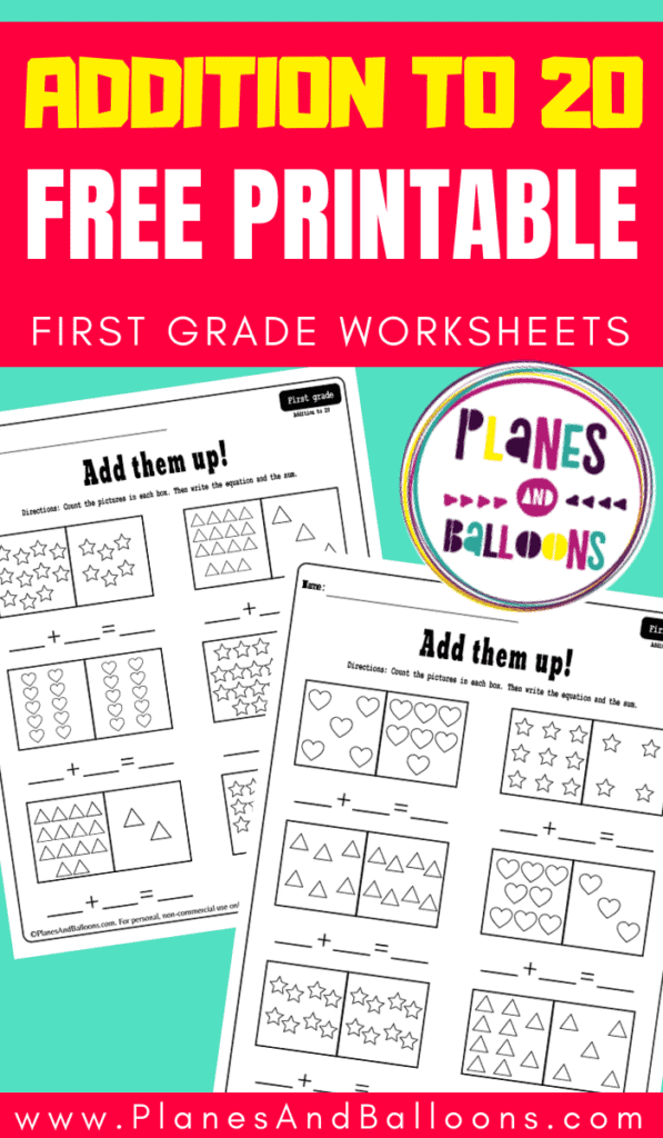 Addition to 20 worksheets with pictures to count and write equations