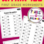 Comparing numbers worksheets on pink background