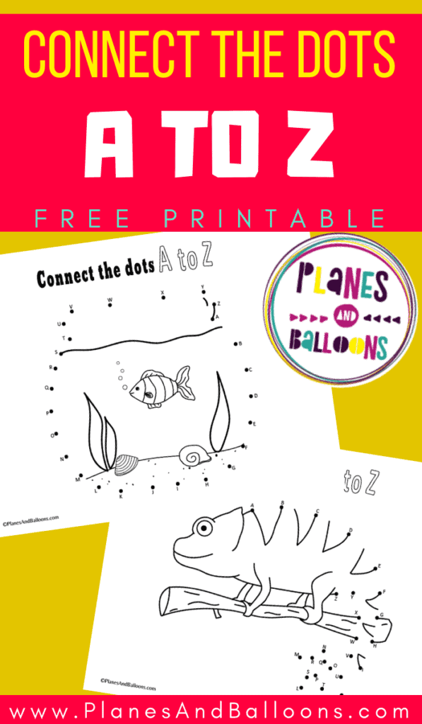 dot to dot printable worksheets connecting dots from A to Z on a yellow background