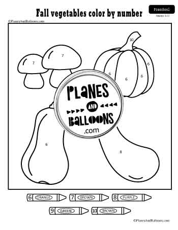 Fall vegetables color by number worksheet