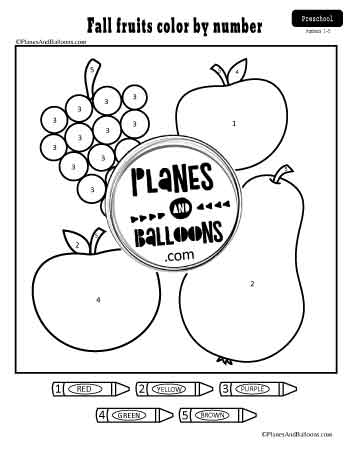 Fall fruits color by number worksheet