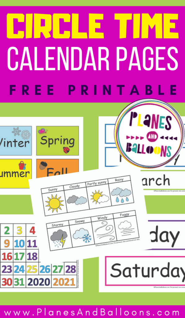 free printable circle time calendar template for preschool