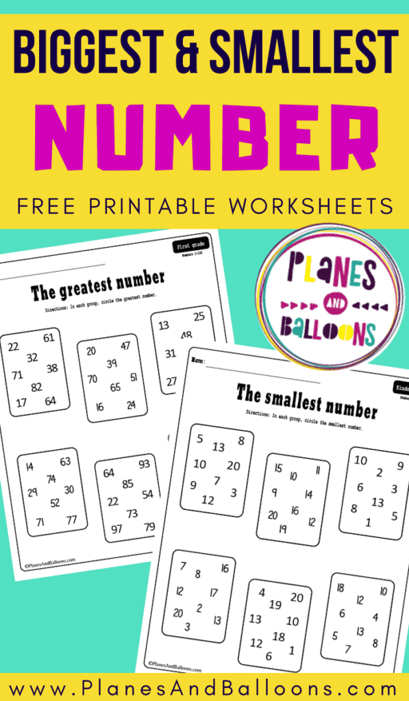 Two of the greatest and smallest number worksheets on a green background