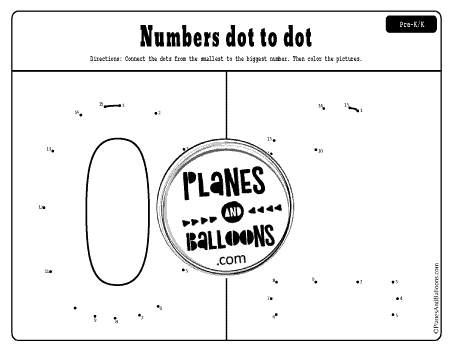 Numbers 0 and 1 dot to dot printable worksheet