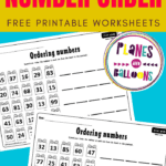 Ordering numbers worksheets 1st grade on blue background
