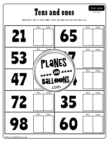 Ten and ones place value worksheet
