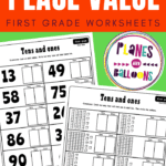 Place value worksheets for grade 1 - two pages shown on green backgound