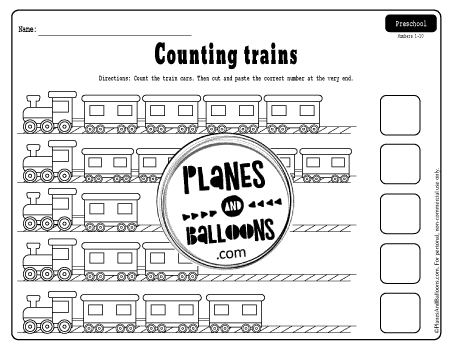 Numbers 1-5 preschool worksheets with trains