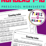 Train number 1-10 worksheets for preschool on a purple background