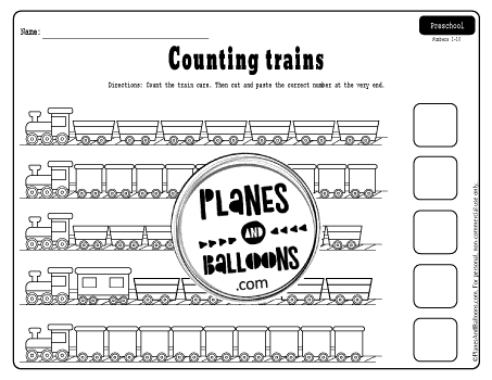 Numbers 6-10 preschool worksheets with trains
