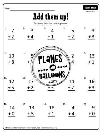 Addition without regrouping to 20 - one worksheets