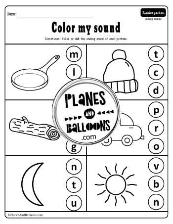 ending sounds worksheets with pictures and letters