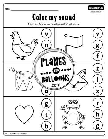 ending sounds worksheets for kindergarten with pictures and letters to color