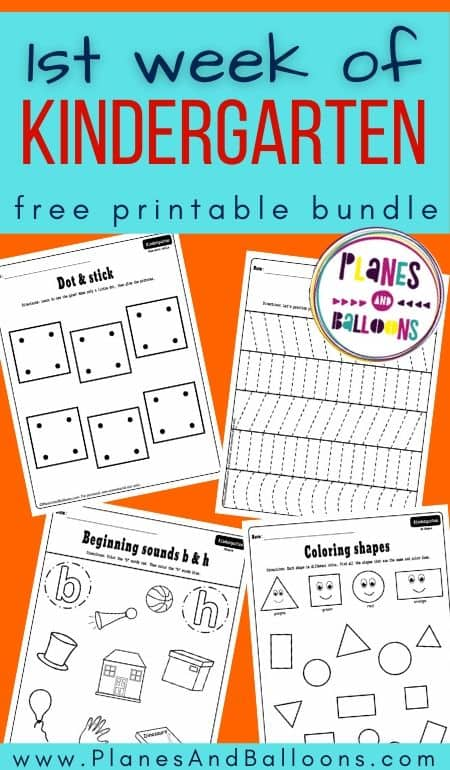 Kindergarten worksheets for the first week - preview on orange background