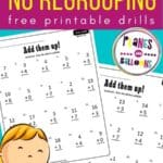 Free addition worksheets for grade 1 - image of two worksheets