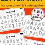 Free printable alphabet letter find worksheets