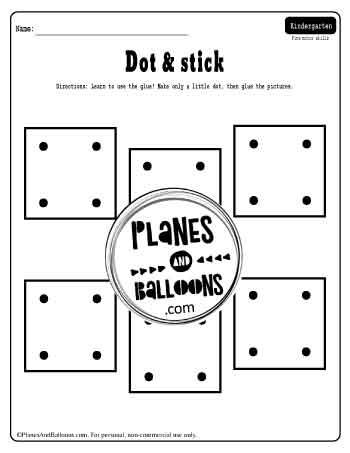 First week of kindergarten worksheets - using the glue