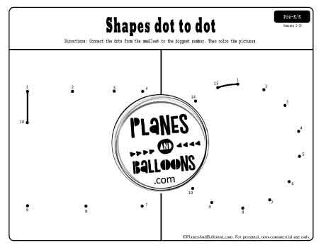 shapes dot to dot printable page