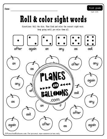 Dice game to teach sight words in grade 1