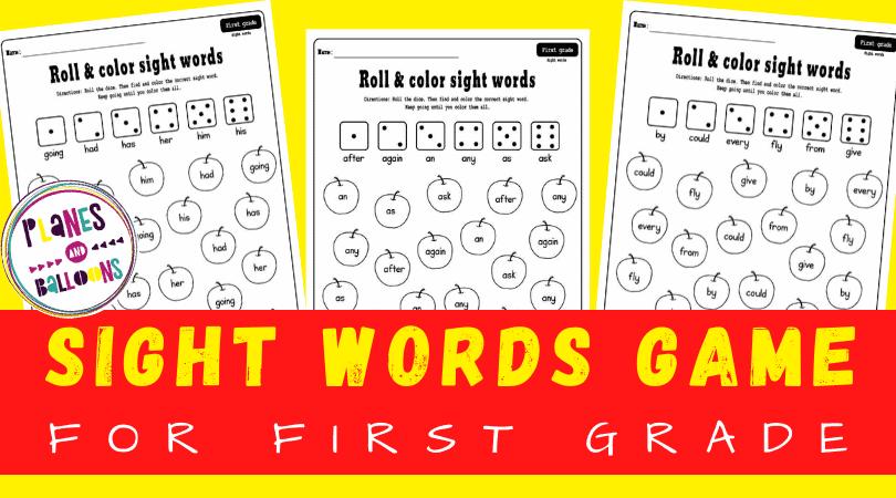 Sight words game for grade 1 worksheets
