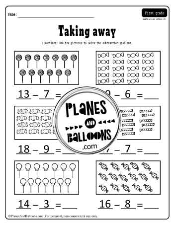 Subtraction to 20 worksheet with pictures to cross out