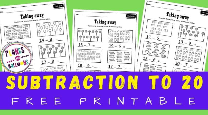Worksheets for subtraction to 20 in first grade - on green background