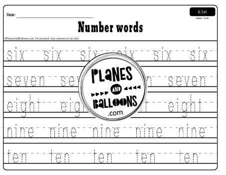 Tracing number words 6 to 10 worksheet