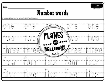 Tracing number words 1 to 5 worksheet