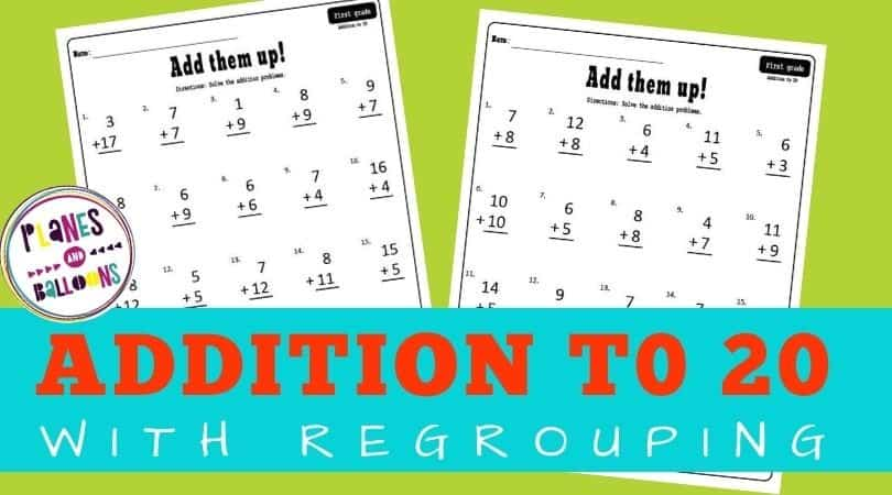 addition to 20 worksheets grade 1 - with regroupinh