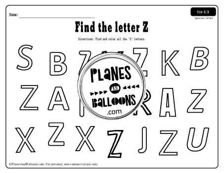 abc letter find worksheets - letter Z worksheet example