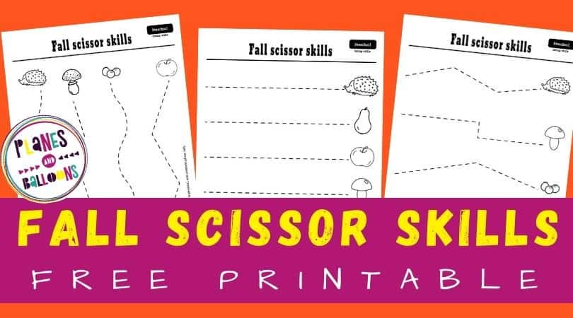 free printable cutting activities for preschoolers for Fall - cutting dotted lines