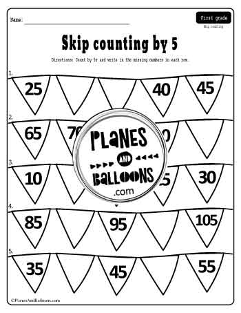 Skip counting by 5 worksheets - fill in the missing numbers