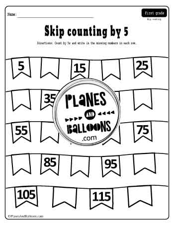 Skip counting by 5 worksheets nr.1