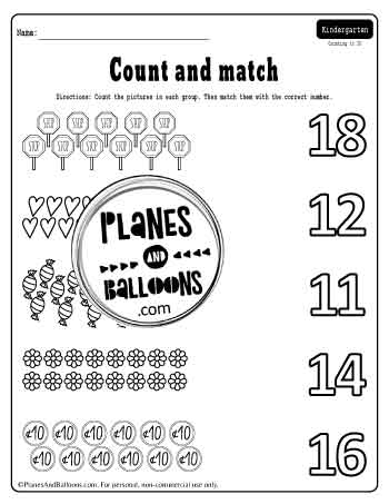 count and match pictures and numbers up to 20