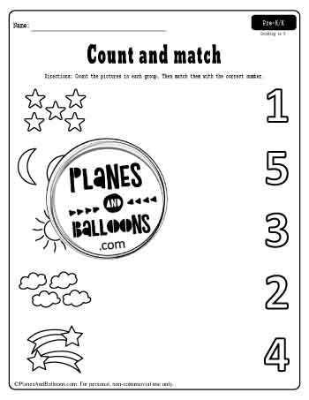 count and match pictures and numbers up to 5