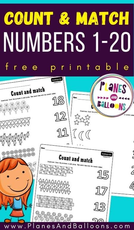 count and match worksheets 1-20