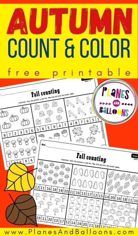 Fall count and color worksheets - free autumn worksheets for kindergarten