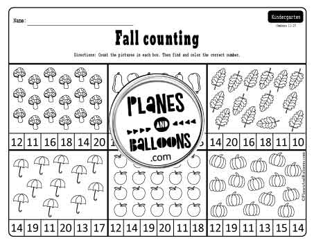 fall count and color worksheets