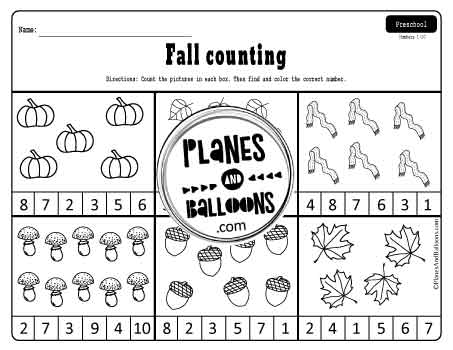 Counting objects worksheets for fall