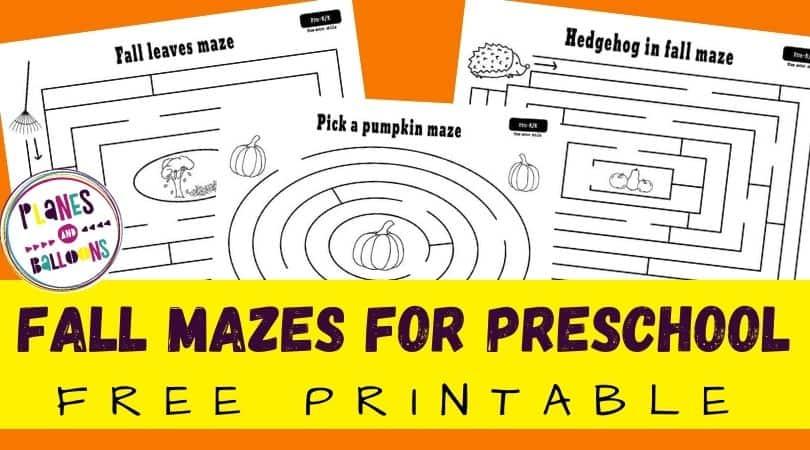 Fall mazes for preschoolers