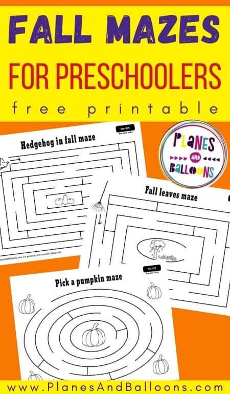 Fall mazes for preschool free printable