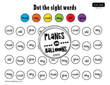 Dolch sight words spot and dot