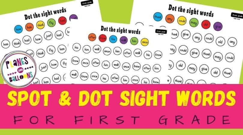 first grade sight words spot and dot worksheets