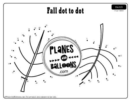 Dot to dot printable worksheets - fall leaves