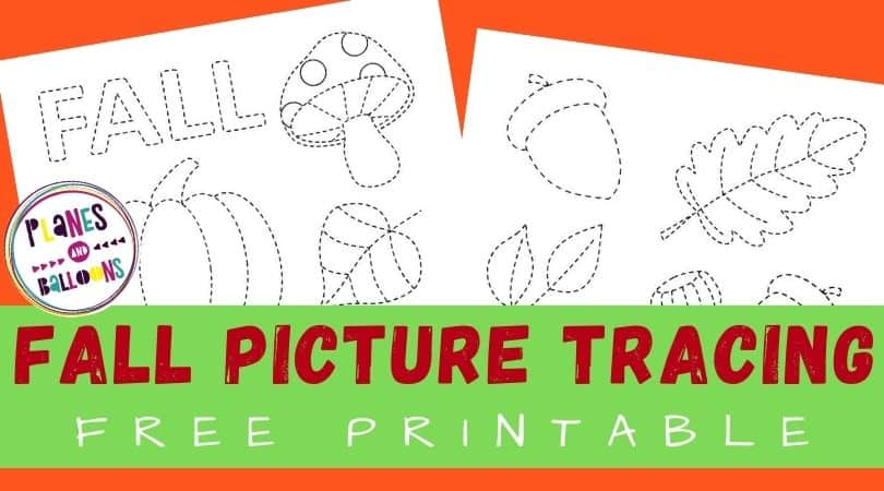 tracing fall pictures worksheets for preschool