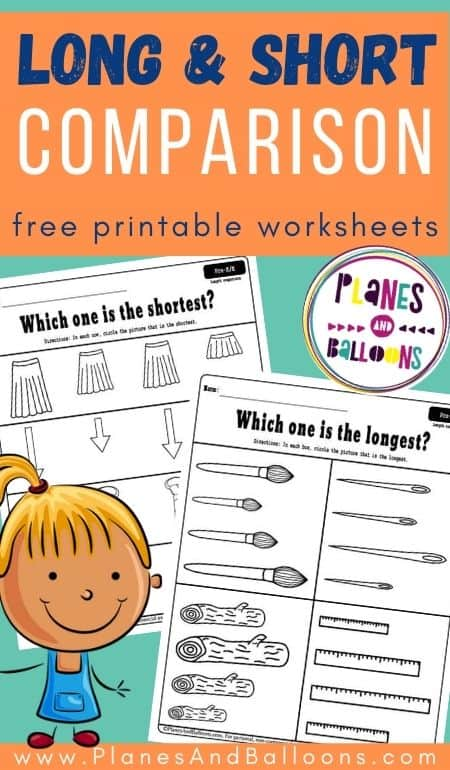 Long and short worksheets for preschool - objects to compare and color.