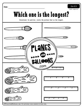 compare the objects in this worksheet- long and short