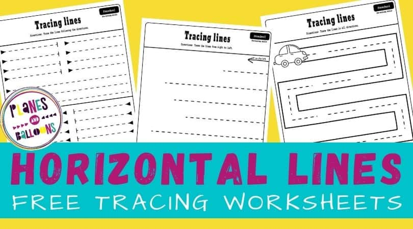 Free printable tracing horizontal lines worksheets for preschool.
