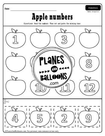 Cut and paste apple numbers 1-12 worksheet for preschool free printable