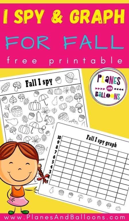 Fall I spy printables on yellow bacgkround with a girl clipart